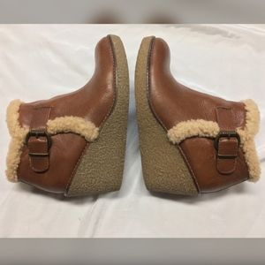Sam Edelman Jayla Wedge Shearling Trim Ankle Boots